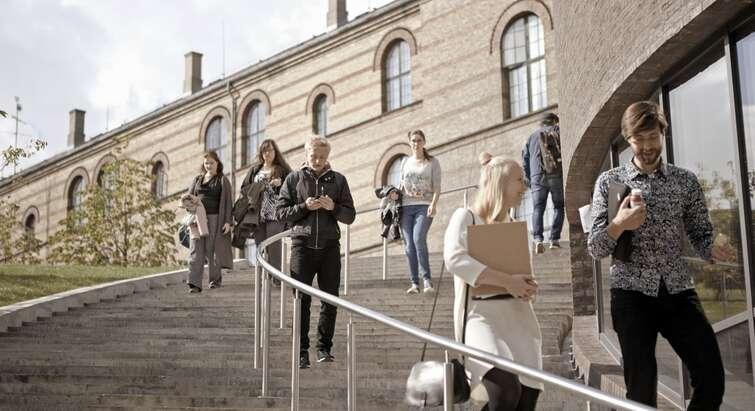 Studerende på trappe. Foto: KU