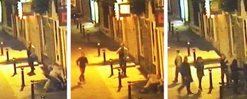 Billederne viser forbipasserende, der griber ind overfor en voldelige episode