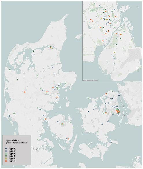 Kort over grønne fællesskaber